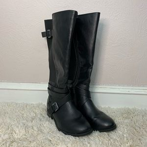 TORRID black tall wide boots with buckles sz11